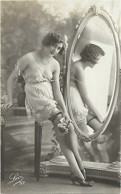 Original old French real photo postcard Art Deco nude study 1920s RPPC pc #436