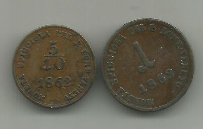 LOMBARDY-VENNETO (Italy)  5/10 soldo + 1 soldo 1862  two-coin-lot