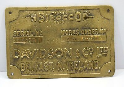 Trade Sirocco Mark Davidon&co ltd Marine Ship Antique Vintage Brass Plate Plaque