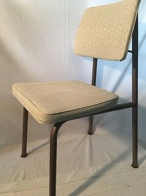 "Industrial Desk Chair Brody Seating Co Mid Century Modern Metal & Vinyl 17"" Tall"