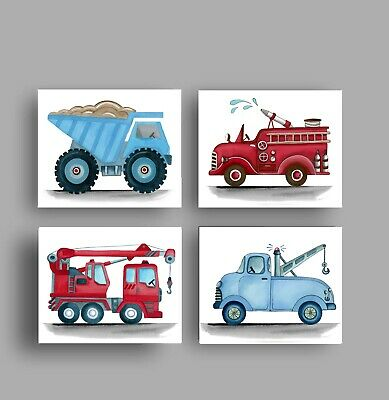 construction trucks boy nursery art prints bedroom bedding wall decor