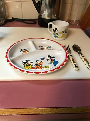 Vintage Child's 3-Section Plate, with Cup, Spoon and Fork,Walt Disney Characters