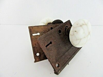 Pair of Antique Vintage Crackled White Marble Door Knobs with Plates