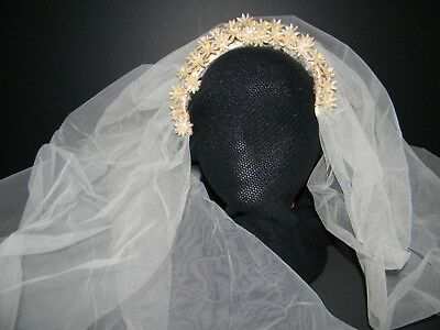 Antique Long French Bridal Veil With Wax Flowers & Headband.