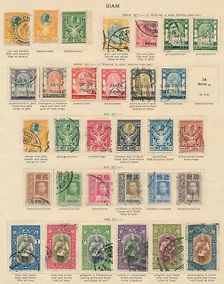 Thailand Stamps 1909-1912 Lovely Album Page Of Siam Inc Vajiravudh Vienna Set