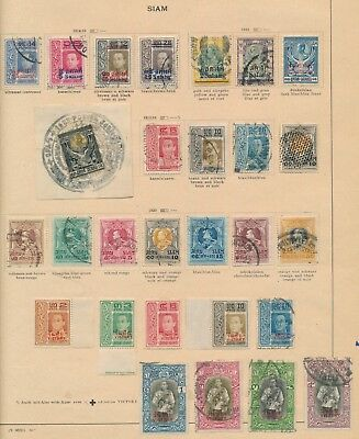Thailand Old Siam Stamps 1914/1918 Magnificent Album Page Incs Victory Set Vf
