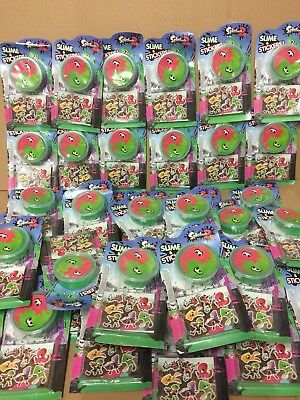 job lot wholesale 41 slime pots and sticker sets party  filler toys