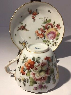 ANTIQUE MEISSEN PORCELAIN FLORAL Hand Painted CABINET CUP & SAUCER Early 19thC