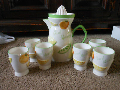 Vtg. Napcoware Juice Pitcher With Reamer Lid And 6 Juice Cups,c-5352, Rare Find