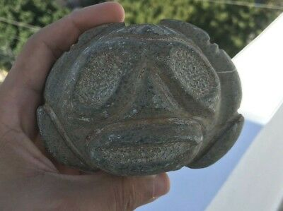 Taino Pre Columbian Stone Head Cemi Idol Antique
