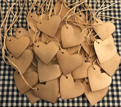 "50 Heart 1-3/4"" Valentines day Coffee Stained Primitive Price Gift Hang Tags Lot"