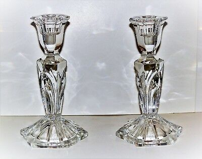 (2) 24% cut Lead Crystal Candle Holders