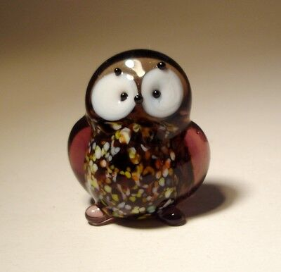 "Blown Glass Figurine ""Murano"" Small Bird OWL with White Eyes"