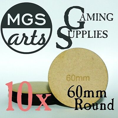 10x 60mm Round Laser Cut MDF Miniature Bases FREE SHIPPING!!!