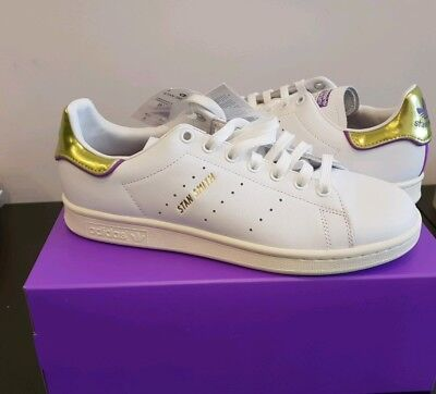 best service 3a9e7 4d0bf Adidas Stan Smith White Purple Gold London Elizabeth TFL Underground Size  6.5