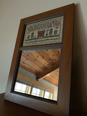 Early American Style Antique Wood Mirror Wall Hanging Primitive Country 15 x 22