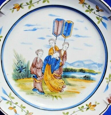 18Th 19Thc Antique French Faience Plate Rouen  Decorated Chinese Oriental Figure