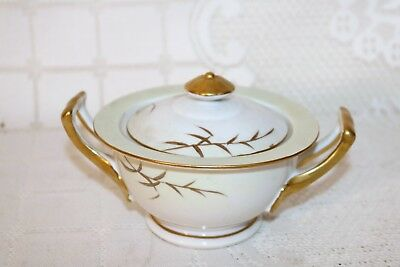 """Unknown Maker Asian Japan China Green Gold Wheat 2 3/4"""" Sugar Bowl with Lid"""