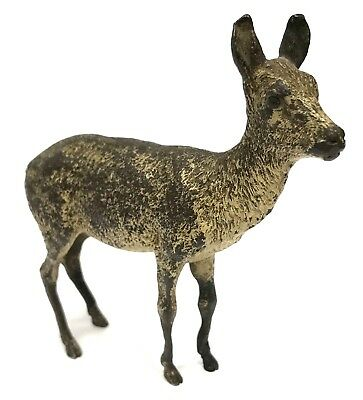 Antique Austrian Cold Painted LARGE RARE Bronze Deer Geschutzt Possibly Bergman
