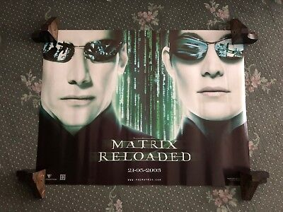 THE MATRIX RELOADED Neo & Trinity ORIGINAL CINEMA QUAD POSTER 2003 Keanu Reeves