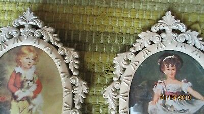 2 Small ORNATE ANTIQUE METAL VICTORIAN PICTURE FRAME OVAL  WITH CONVEX GLASS
