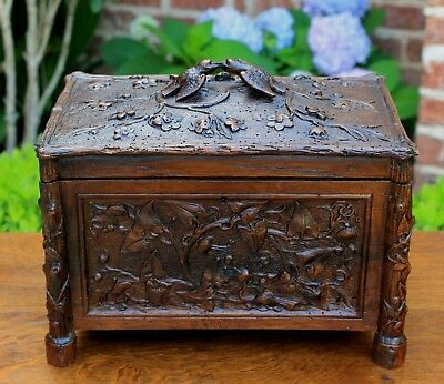 Antique French Highly Carved Oak BLACK FOREST Jewelry Box Vanity  BIRDS