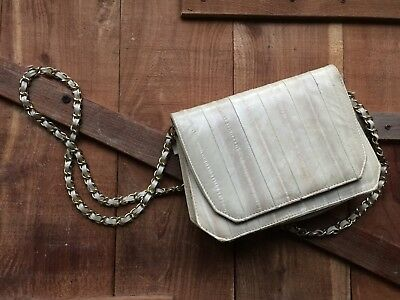 BEAUTIFUL EEL SKIN CLUTCH SHOULDER SMALL PURSE with shoulder strap