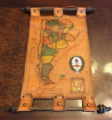 """Leather Map Hanging. Tooled With Color. Vintage Argentina. 16"""" Tall"""