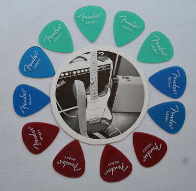 Fender Heavy California Clear Assorted Guitar Picks Red Green Blue
