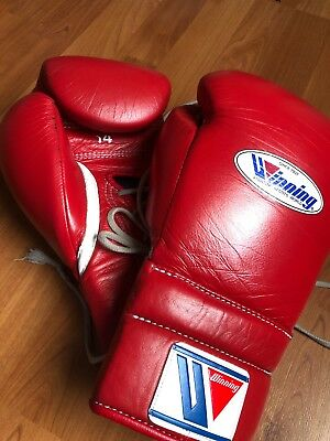 WINNING BOXING GLOVES Professional Lace up 14oz Red MS 500 from JAPAN