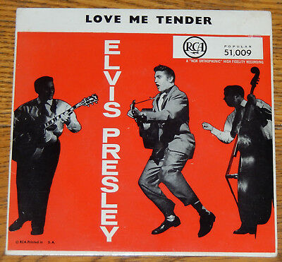 "ELVIS PRESLEY EP 45rpm 7"" South Africa LOVE ME TENDER - EPC 51,009 Popular 1956"