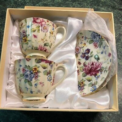 Tea Set Gorgeous Yamasen 24 Golden Collection Porcelain 2 Cups 2 Saucers Boxed
