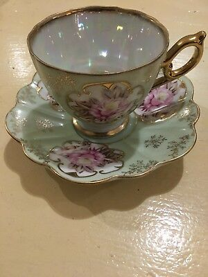 Vintage Lefton China Cup And Saucer: Heritage Green With Gold Trimmed KF 801: