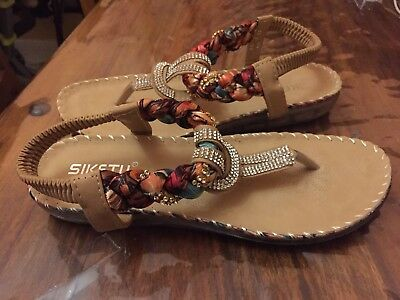 2794d180d723b3 Womens Ladies Summer Beach Comfort Sandal Sling Back.Toe Post.Flat New.size