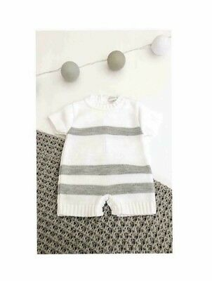 Traditional Spanish Style Baby Boys Grey Knitted Romper Outfit - Boat Set