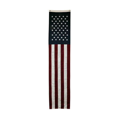 On Sale! Long Slim Natural Cotton American Flag - Cream 8ft Long Free Shipping!