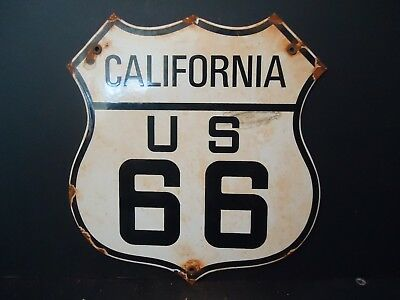 Vintage State Of California Route 66  Porcelain Road Sign