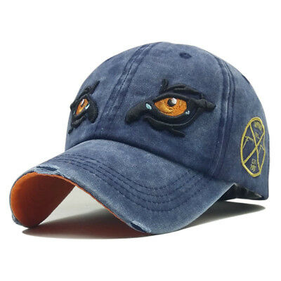 Men Hawkeye Embroidery Washed Cotton Baseball Cap Outdoor Sunshade Hat