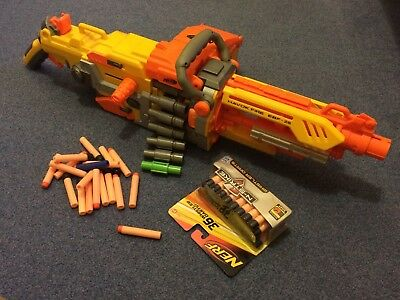 NERF N-Strike Havok Fire EBF-25 gun with belt, box and extras - full auto Hasbro