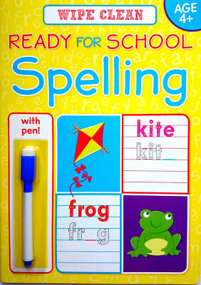NEW Wipe Clean SPELLING Book with PEN Age 4+ Ready for School Learning 2018
