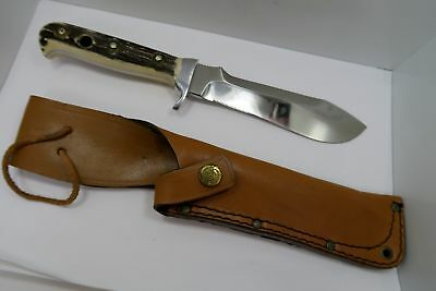 VINTAGE - PUMA 6375 GERMANY MADE - WHITE HUNTER STAINLESS STAG KNIFE w/ SHEATH