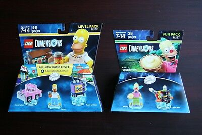 LEGO Dimensions Level Fun Pack The Simpsons Homer 71202 & Krusty 71227 NEW Clown