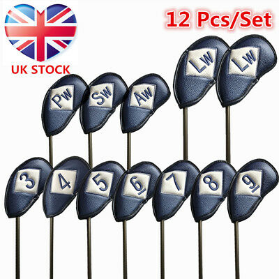 Golf Iron Head Covers Left Hand Right Hand 12 Pack PU Leather Club Covers Set UK