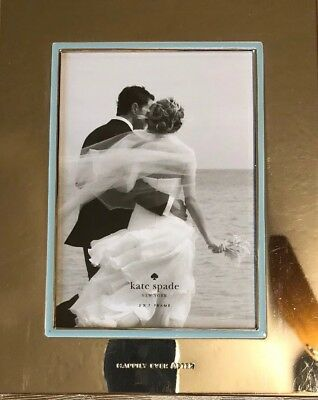 Kate Spade Happily Ever After Silverplate & Blue Enamel 5 x7 Photo Picture Frame