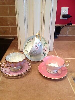 Mixed Lot 3 Antique Tea Cups & Saucers Early 1900's - 1940's Shabby Chic Cottage