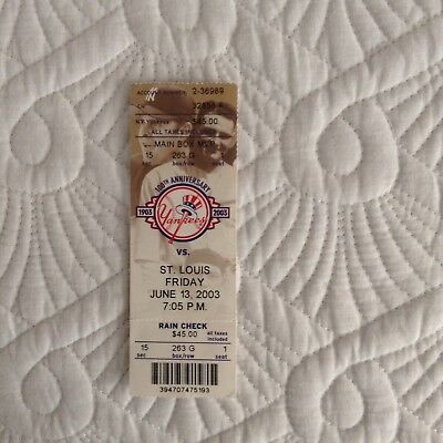 Roger Clemens 300 Win 4000 Strikeout Ticket 6/13/2003 Yankees v Cardinals