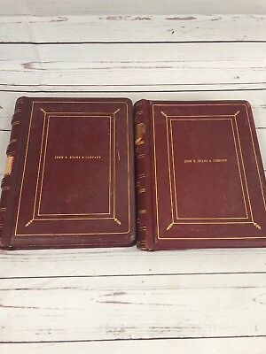 Antique Leather Bound Stock Holders Books John R. Evens & Company 1950s Lot Of 2