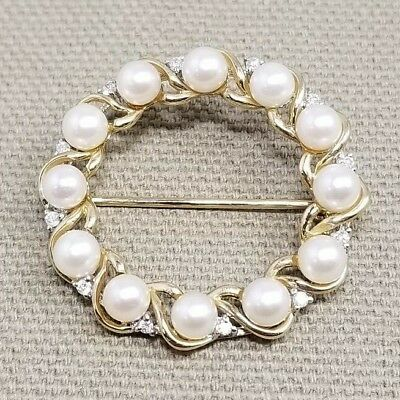 14K Yellow Gold and Pearl and diamond Brooch / Pin Wreath Design antique 30mm