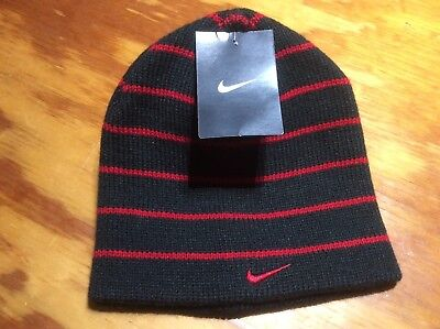 de501286500 Nike Striped Hat Beanie Black Red Hat Winter Ski One Size Youth Boys Size 8-