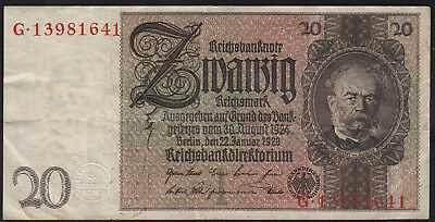 1929 20 Reichsmark Germany Vintage Nazi Paper Money Banknote Currency 3rd Reich